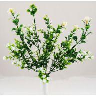 X7 PLASTIC GRASS W/MINI BELL FLOWER-WHITE