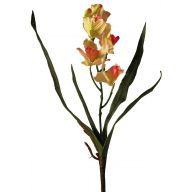 X 1 Orchid ( 5 Heads , 2 Buds , 4 Leaves )  - Coral ( Hot Pink )