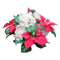 X 12 Poinsettia / Hydrangea Bush - Red / White