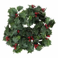 """22"""" Holly Wreath w/ 144 Leaves Berries w/ 3"""" Holly Ring"""