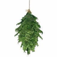 """6"""" Glitter Pine Cone Ornament - Green"""