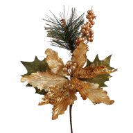 "15"" GLITTER TIP NEEDLE PINE BEAD POINSETTIA BERRY LEAF SPRAY"