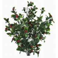 "X10 19.5 "" Plastic Holly Bush W / Red Berries - Green / Red"