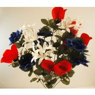 X 18 Rose Lily Bush - Red / White / Blue