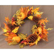 """24 """" Fall Pumpkin Gourd Wreath on Starburst Vine Wreath"""