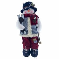 """17"""" Standing Clothed Snowman w/ Skis"""
