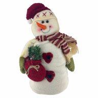 "13.5"" Standing Snowman w/ Pine In Bag"