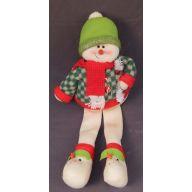 """19 """" Sitting Snowman - Green Plaid Jacket"""