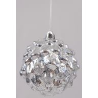 150 mm Transparent Hanging Pine Cone Ball - Silver