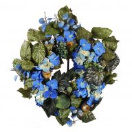 "18 "" Frosted Leaf Hydrangea Wreath - Blue"