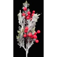 "17 "" Snow Grass Red Berry Spray"