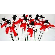 GLITTER SNOWMAN PICK-WHITE/RED/BLACK (PACK OF 12)