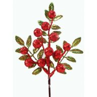 """10 """" Glitter Leaf Berry Pick - Red / Lime"""