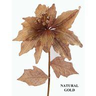 "28 "" Single Glitter Edge Burlap Poinsettia W / 2 Burlap Leaves - Natural"