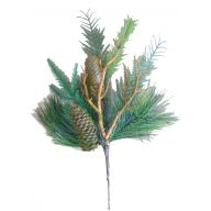 """16 """" Frosted Pine Cone Twig Needle Pine Mixed Spray - Frosted Green"""