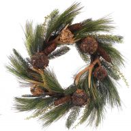 "26 "" Pine Cone Buckhorn Balls Needle Pine Mixed Wreath - Coffee"