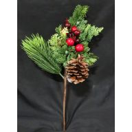 "15 "" Red Berry Pine Cone / Cedar Pine Mix Spray - Red / Green"