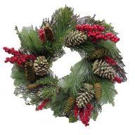 "24 "" PVC Wreath w / Berries & Pine Cones"