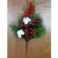 "16"" Berry / Pine / Pine Cone Spray"