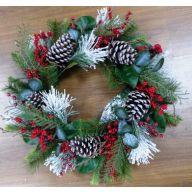 "24"" Mixed Pine / Pine Cone / Berry Flocked Wreath"