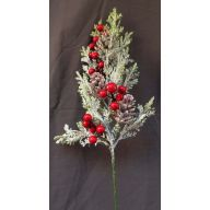 """18 """" Snow Grass , Red Berry , Pine Cone Spray - White / Red"""