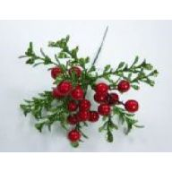 "8 "" Glittered Boxwood Berry Pick - Red / Green"