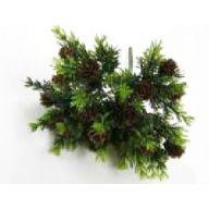 "11 "" Plastic Greenery w / Pinecones Bush - Green"