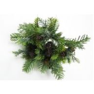 "12 "" Frosted Needle Pine Spray w / Pinecones"