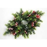 """14 """" L Centerpiece Candlering w / Peppermint Candy"""