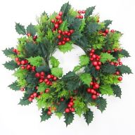 """20"""" Holly Wreath (20""""Dia) - Red / Green"""