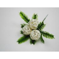 """8""""X 6"""" Fern w/ 3 Vine Balls Pick (1.6"""" Vine Ball) (Sold By Pack Of 12) - Natural"""
