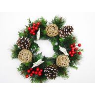 "12.5"" Vine Star, Pinecone, Vine Ball, Berries, Pine Wreath - Natural"