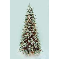 """9' MED FIRST FROST FLOCKED GLITTER W/ CONES/PVE/PINE/ 1883 TIPS, 650 LIGHTS, 53"""" DIA"""
