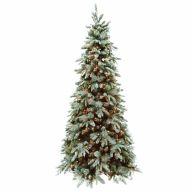 "6.5' Medium Holiday Pine Hinged Tree w/ Pinecones 975 Tip, 400 Clear Lights, 41""Dia"