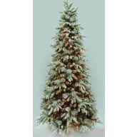 "7.5' MEDIUM FIRST FROST LIGHTED TREE W/ CONES 1355 TIPS, 500 LIGHTS, 49"" DIAMETER"