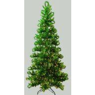 7.5' MEDIUM TREE METALLIC GREEN PINE
