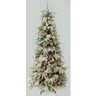 "6' SLIM LIGHTED SNOW TREE PINE 872 TIPS, 300 LIGHTS 33"" DIAMETER"