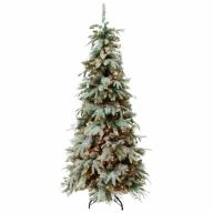 """7.5' Slim Christmas Frost Hinged w/ Metal Base 1,260 Tips, 450 Clear Light, 39""""Dia"""