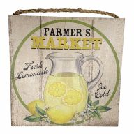 "10"" X 10"" MDF ""Farmers Market Lemonade"" Sign w/ Rope"