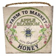 "10"" X 10"" MDF ""Apple Blossom Honey"" Sign w/ Rope"