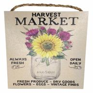 "10"" X 10"" MDF ""Harvest Market"" Sign w/ Rope"
