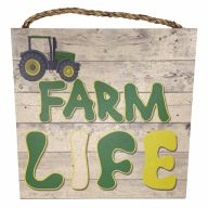 "10"" X 10"" MDF ""Farm Life"" Sign w/ Rope"