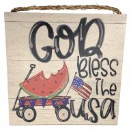 "10"" X 10"" MDF ""God Bless the USA"" Sign w/ Rope"