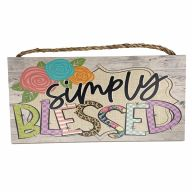 "6"" X 12"" MDF ""Simply Blessed"" Sign w/ Rope"