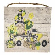 "10"" X 10"" MDF Lemon Truck Sign w/ Rope"