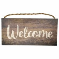 "6"" X 12"" MDF ""Welcome"" Sign w/ Rope - Brown"