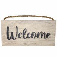 "6"" X 12"" MDF ""Welcome"" Sign w/ Rope - Cream"