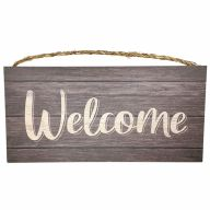 "6"" X 12"" MDF ""Welcome"" Sign w/ Rope - Brown / Black"