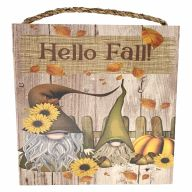 """10"""" X 10"""" MDF """"Hello Fall"""" Floral Gnomes Sign w/ Rope"""