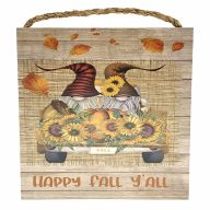 """10"""" X 10"""" MDF """"Happy Fall Y'all"""" Gnomes In Truck Sign w/ Rope"""